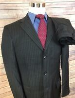NWT $395 Roundtree & Yorke Charcoal Striped Slim Fit 3-Btn Wool Suit 40L 32x38