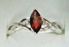 10K Solid White Gold Garnet Diamond Multi Stone Birthstone Engagement Ring