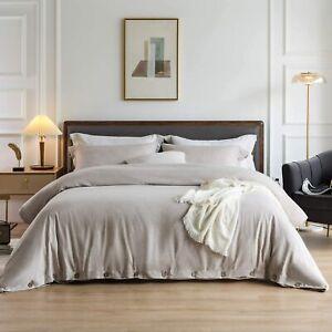 KING 3 Pcs Heather Khaki Luxury Bedding Duvet Cover Set Button Farmhouse Bedroom