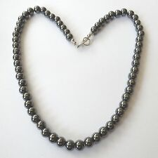 WOMEN'S SILVER TONE NECKLACE WITH SPHERES HEMATITE 8 MM -  47 CM - 124 P