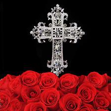 Rhinestone Cross Cake Topper Crystal For Religious Communion Baptism Christening