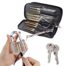 26pcs Lock Pick Training Tool Set Locksmith Practice Tools w Transparent Padlock
