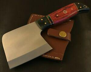 Handmade Hatchet/ Axe-Carbon Steel Leather Sheath-Lanyard-Camping-Hiking-Mc158