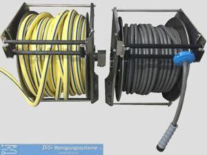 Schlauchtrommel Schlauchaufroller 2x automatisch VA Niederdruck Hochdruck 50m+5m