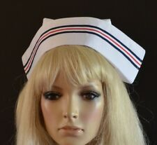 WHITE FABRIC NURSE'S HAT 2 buttons STAFF MATRON CAP - MILITARY RED/BLUE STRIPE