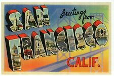 Greetings from San Francisco California, Ocean etc. Modern Large Letter Postcard