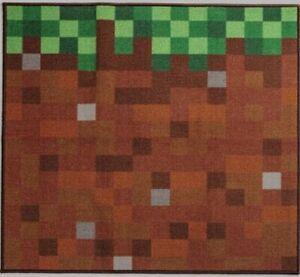 "🆕Mojong   Minecraft Grass Block Area Rug   39""x39""   Green, Dirt Room Décor"