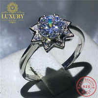 5A Cubic Zirconia 1Ct Solid 925 Sterling Silver Engagement Ring for Women