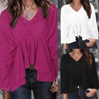 Womens V Neck Ruffle Peplum Top Asymmetric T-Shirt Summer Beach Shirts Blouse