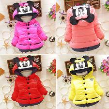 Kids Baby Girls Minnie Mouse Hoodies Winter Warm Hooded Coat Jacket Outerwear