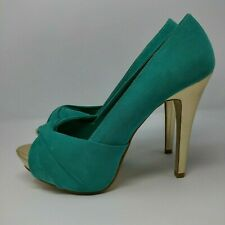 DOROTHY PERKINS Ladies Stiletto Shoes UK 5 Turquoise Suede & Gold Heel Open Toe