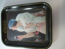 Coca Cola Vintage Tin Flapper Girl 1970s Reproduction Tray Blue Mink Advertising