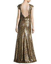 ZAC POSEN DRESS HOLIDAY FORMAL GOWN LEOPARD SEQUIN OPEN BACK 2 S ANIMAL PRINT NW