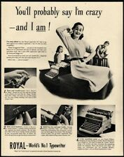 1946 ROYAL Portable Typewriter - Pretty Secretary - Office - Original VINTAGE AD