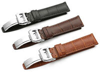20mm 21mm 22mm Genuine Croco Leather Watch Straps Deployment Clasp Band For IWC