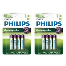 8 x Philips AAA 700mAh NiMH Rechargeable Batteries LR03 HR03 Dect Cordless Phone