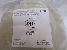"""3445 Princess House Specialty Silicone Covers Set / 2 Green Fantasia 5 1/2""""D NIP"""
