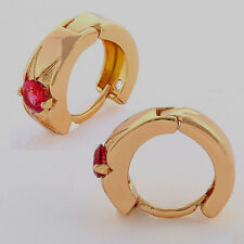---10K Yellow Gold Filled GF Ruby Hoop Earrings Earings 10mm ID, 5mm Wide