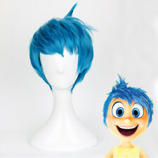 Movie Inside Out Joy Wig Short Blue Heat Resistant Hair Cosplay Wigs + Wig Cap