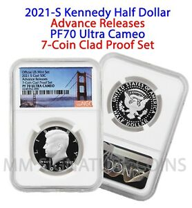2021 S NGC PF70 Ultra Cameo Advance Releases Kennedy Half from 7-Coin Clad Set