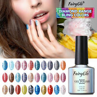 FairyGlo Sequins Glitter UV LED Soak Off Gel Nail Polish Top Base Coat Nail 10ml