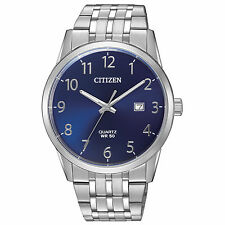 Mens Citizen Quartz Stainless Steel Blue Dial Watch With Date BI5000-52L