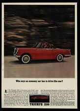 1962 TRIUMPH 1200 Red Convertible Sports Car - VINTAGE AD