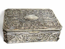 Vintage Godinger Jewelry Box Art Nouveau Floral Silver Plated with Red Velvet