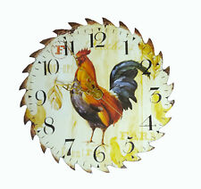 """Country Farm Rooster 7 1/4"""" Real Saw Blade Clock Kitchen Chicken"""