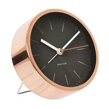 Karlsson Black with Copper Case Alarm Clock Watch Silent Sweep Movement