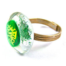"""Cocktail RING Adjustable DICHROIC Fused GLASS 3/4"""" 2cm Emerald Green Gold Mottle"""