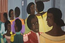 "Phanel Toussaint ""The Dance"" Oil Haiti Curio Unusual Art South American Folk Art"