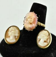 CAMEO Ring Size 6.5 & Stud Earrings - Victorian Era 14k Yellow Gold - 7.56 g