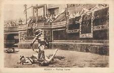 EARLY 1900's VINTAGE ROMA - POLLICE VERSO POSTCARD - GLADIATORS in COLOSSEUM