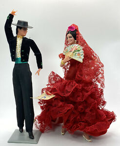 """Pair Of 1950's Marin Chiclana Flamenco Dancer Dolls Made In Spain 8"""" Tall Red"""