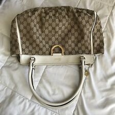 Gucci D Ring Shoulder bag Beige GG canvas with soft white leather