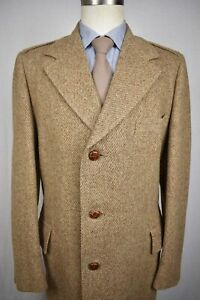 1970's Charles A. Brown Solid Brown Wool Three Button Overcoat Size: 40L