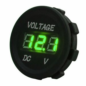 DC 12V-24V Green LED Digital Voltage Meter Round Panel Voltmeter Car Boat Marine