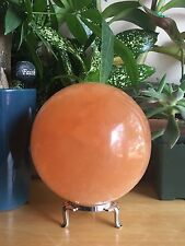90 mm Red Orange Selenite Sphere Large Gemstone Specimen Chakra Crystal.W/Stand
