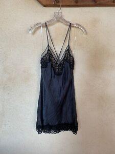 Calvin Klein, Sleepwear, Size M, Steel Blue with Black Lace, Spaghetti Strap