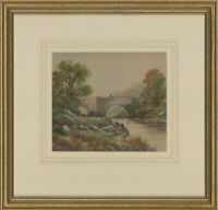 Shepherd - Late 19th Century Watercolour, Bridge Across the River