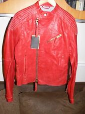 DSQUARED 2 MENS RED BIKER LEATHER JACKET.EURO 48.UNWORN WITH TAGS.STEVE MCQUEEN.