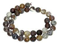 😏 Feuerachat Perlen 10 mm braune facetteierte Kugeln Achat Perlen Strang 😉