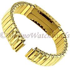 10mm Glam Rock Gold Tone Twist-O-Flex Faux Buckle Ladies Watch Band GBEX01SY