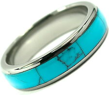 Tungsten Carbide Ring Wedding Band Turquoise Inlay Titanium Color Dome 6mm
