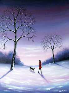 LANDSCAPE CANVAS OIL PAINTING Sarah Featherstone, Walk In The Winter Snow, Dog