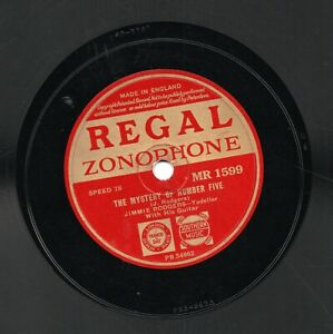 JIMMIE RODGERS 78 THE MYSTERY OF NUMBER FIVE / I'M LONESOME TOO R-Z MR 1599 V/V+