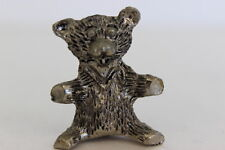"Vintage Metal Pewter Mianiature Teddy Bear 1.25"" Tall x 1"" Wide"