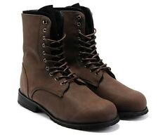 Mens Cowboy Lace Up Retro Combat Military Round Toe High Top Leather Ankle Boots