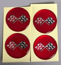 CORVETTE STYLE RED CROSSED FLAG Wheel Hub Center Cap STICKER DECAL 44mm Set